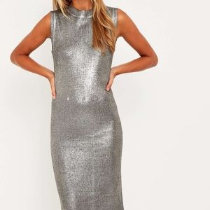 Glamorous Metallic Silver Knit Sweater Dress